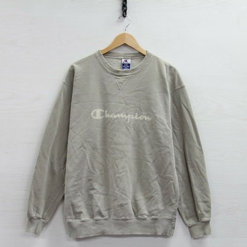 Vintage Champion Sweatshirt Crewneck Size Large Beige 90s Spell Out Distressed