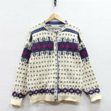 Vintage LL Bean Wool Button Up Knit Cardigan Sweater Size Large Made USA