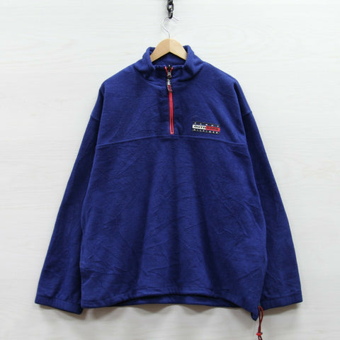Vintage Tommy Hilfiger Outdoors 1/4 Zip Pullover Fleece Jacket Size XL 90s Flag