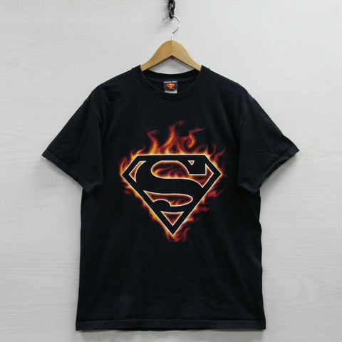 Vintage Superman Kryptonite DC Comics T-Shirt Size Large Flames Superhero 40