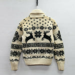 VTG Polo Ralph Lauren Hand Knit Wool Cardigan Pullover Sweater Large Reindeer