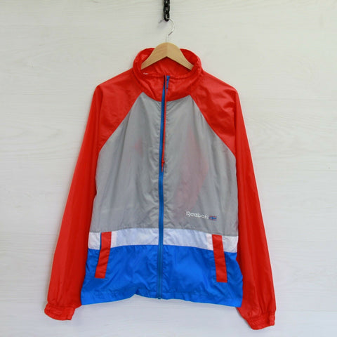 Vintage Reebok Hooded Windbreaker Light Jacket Size XL 90s Union Jack