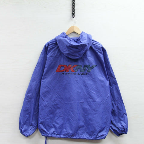 Vintage DKNY Windbreaker Light Jacket Size XL Blue 1/2 Zip Pullover Hooded
