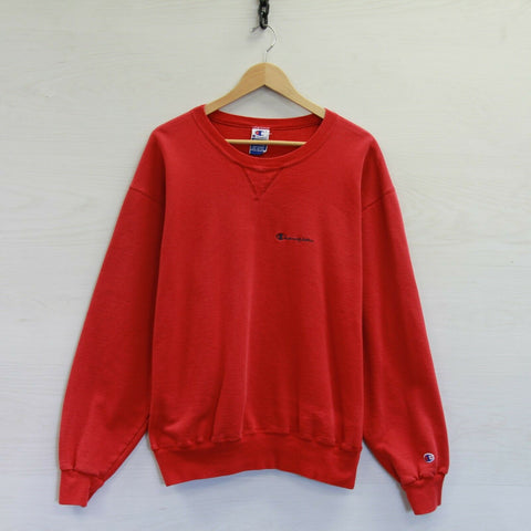 Vintage Champion Sweatshirt Crewneck Size 2XL Red 90s Embroidered Spell Out