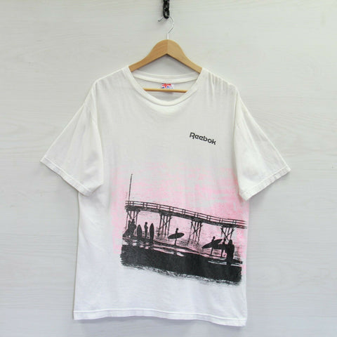 Vintage Reebok Surfing T-Shirt Size Large White Pink Wrap Around Print