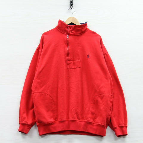Vintage Nautica 1/4 Zip Pullover Sweatshirt Size 2XL Red Sailing Embroidered