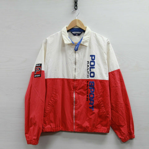 Vintage Polo Sport Ralph Lauren Light Work Jacket Size Large Red White