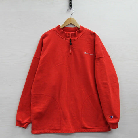 Vintage Champion 1/4 Zip Sweatshirt Size XL Red Embroidered Spell Out