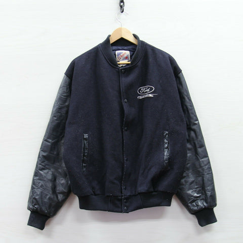 Vintage Ford Enforcers Pleather Wool Bomber Jacket Size Large Auto Cars Trucks