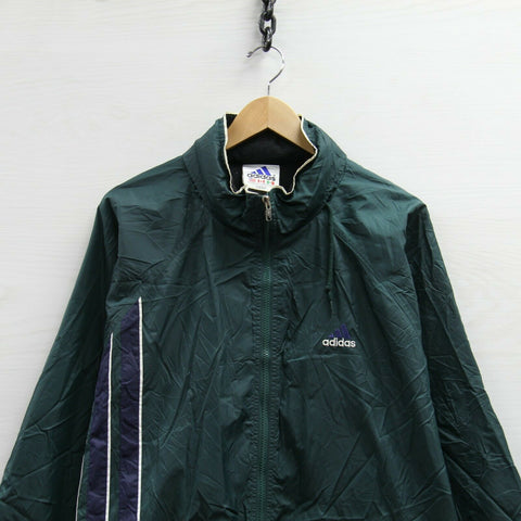 Vintage Adidas Windbreaker Light Jacket Size 2XL Tall Green 90s Hooded