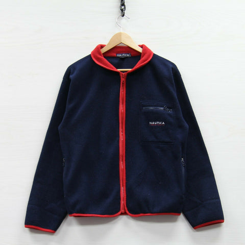 Vintage Nautica Fleece Jacket Size XS Navy Blue Red Sailing