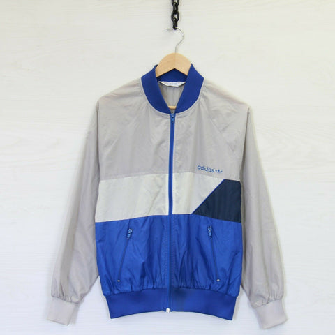 Vintage 80s Adidas Full Zip Windbreaker Light Jacket Blue Gray Size Medium