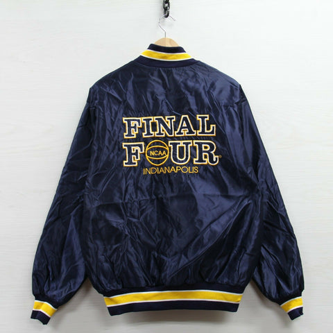 Vintage 1991 Final Four Delong Satin Bomber Jacket Size XL Blue NCAA Basketball
