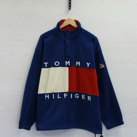 VTG Tommy Hilfiger Outdoors 1/4 Button Up Fleece Jacket Sz Large Blue 90s Flag
