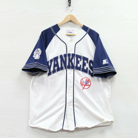 Vintage New York Yankees Starter Jersey Size XL White 90s MLB Stitched