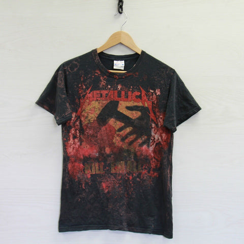 Vintage Metallica Kill Em All Over Print T-Shirt Size Small Black Red Band Tee
