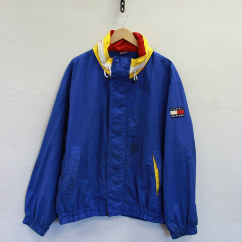 Vintage Tommy Hilfiger Mesh Lined Light Jacket Size XL Blue Red Yellow 90s Flag