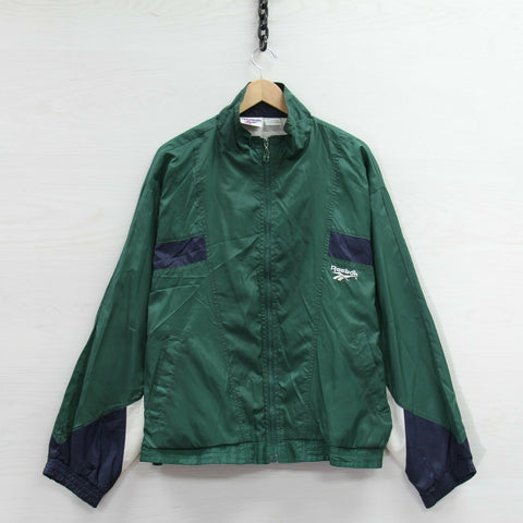 Vintage Reebok Windbreaker Light Jacket Size Large Blue Green Full Zip