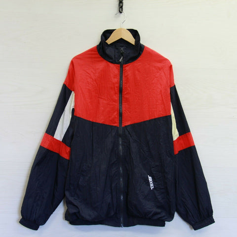 Vintage Brooks Sports Cotton Lined Light Windbreaker Jacket Size XL Red White