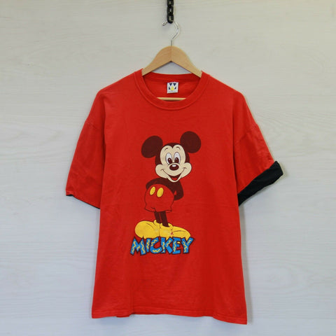 Vintage Mickey Mouse Disney Double Sleeve T-Shirt Red Black Size XL