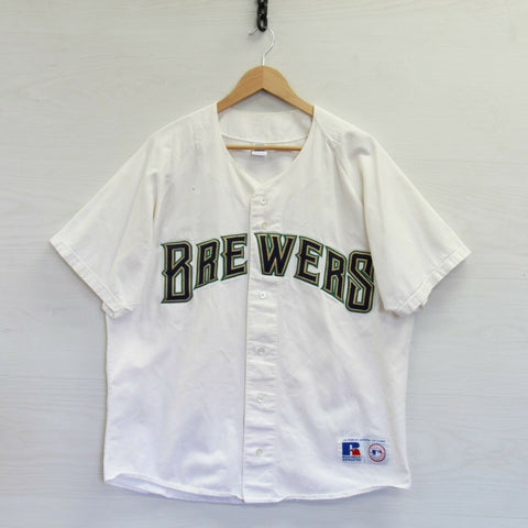 Vintage Milwaukee Brewers #3 Russell Athletic Jersey Size XL White 90s MLB