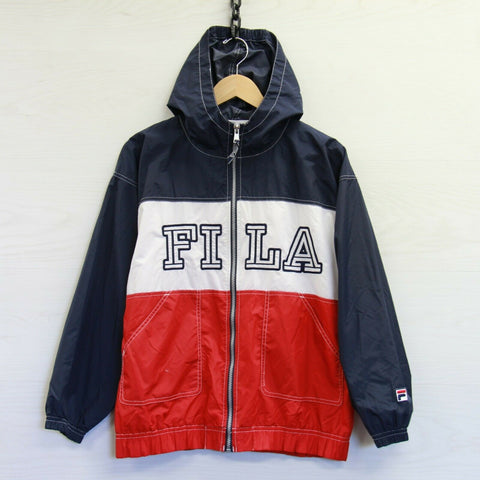 Vintage Fila Mesh Lined Light Windbreaker Jacket Sz Medium Red Blue Spell Out