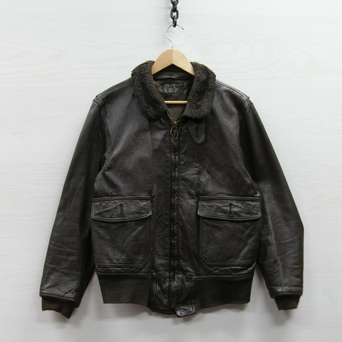 Vintage Brill Bros Type G1 Flight Leather Bomber Jacket Sz 42 Brown Scovill Zip