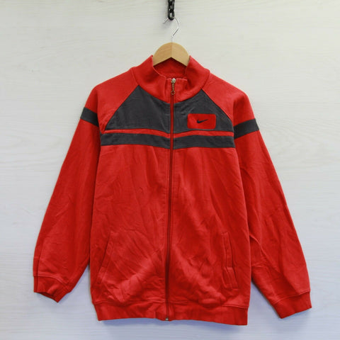 Vintage Nike Full Zip Sweatshirt Size Medium Red Embroidered Swoosh