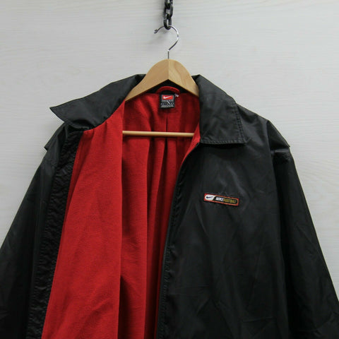 Vintage Nike Basketball Fleece Lined Jacket Size Large Black Red Team Sports