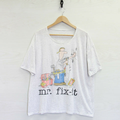 Vintage 1991 Mr. Fix-it T-Shirt Size XL Heather Gray 90s Handyman Jim Benton