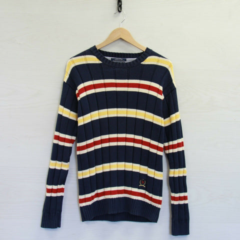Vintage Tommy Hilfiger Crewneck Knit Sweater Size Medium Striped 90s Crest