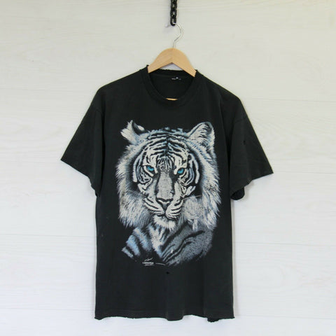 Vintage 90s White Tiger Zooper Distressed T-Shirt Black Size Large