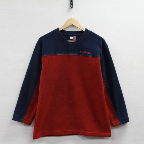 Vintage Tommy Hilfiger Jeans V-Neck Fleece Sweater Size Small 90s Burgundy Blue