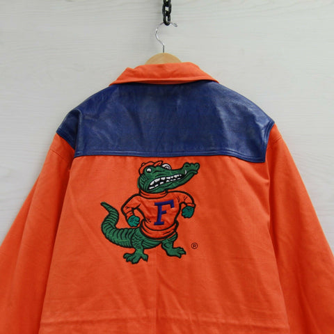Vintage Florida Gators Match 1 Leather Long Jacket Size XL Neon Orange 90s NCAA