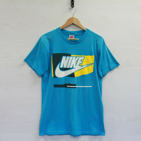 Vintage Nike T-Shirt Size Medium Aqua Blue 90s Gray Tag Swoosh