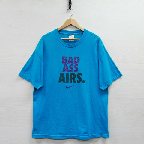 Vintage Nike Air Bad Ass T-Shirt Size XL Blue Teal Swoosh