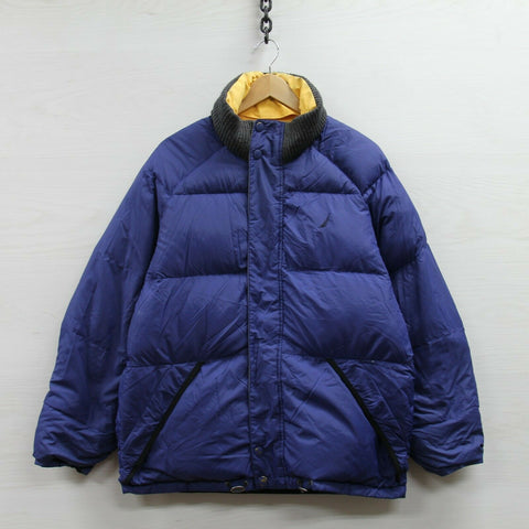 Nautica Reversible Puffer Jacket Size Small Gray Blue Down Insulated