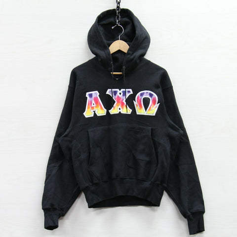 VTG ΑΧΩ Alpha Chi Omega Champion Reverse Weave Sweatshirt Hoodie Small Distress