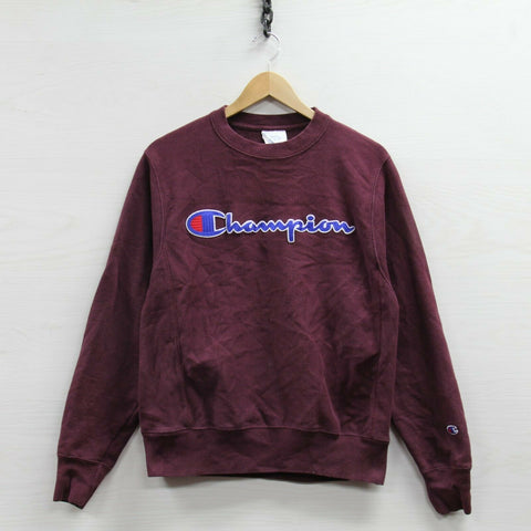 Champion Reverse Weave Sweatshirt Crewneck Small Burgundy Embroidered Spell Out