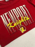 Vintage 1996 Newport Knights T-Shirt Size XL Red 90s High School Single Stitch