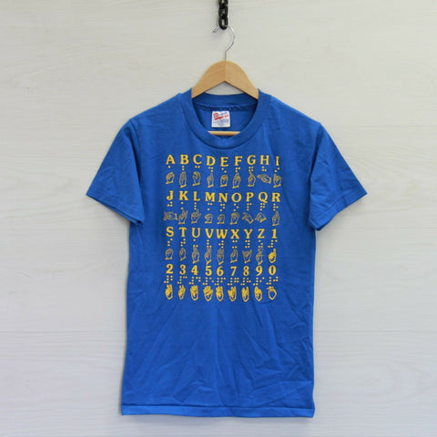 Vintage Brail Alphabet Hanes 50/50 T-Shirt Size Small Blue 90s Puffy Print
