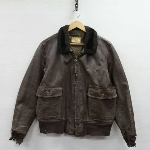 Vintage Type G1 Leather Flight USN Jacket Size 46 Brown Sherpa Collar Navy