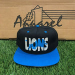 DS Vintage Detroit Lions NFL #1 Apparel Snapback Hat Black Blue OSFA