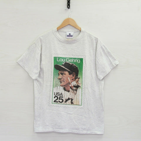 Vintage Lou Gehrig New York Yankees USA 25 Cent Stamp T-Shirt Medium 90s MLB