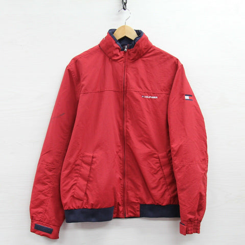 Tommy Hilfiger Full Zip Light Jacket Size Large Red Neck Spell Out Flag