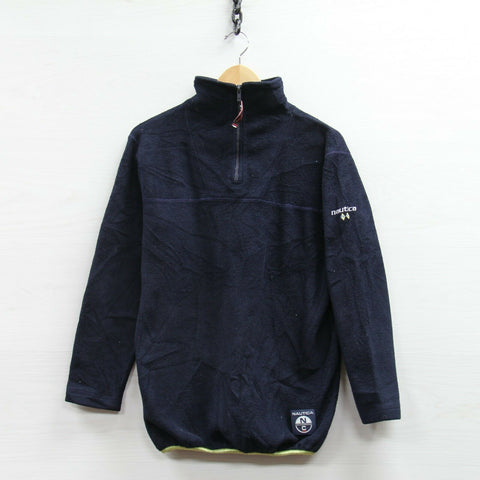 Vintage Nautica Competition 1/4 Zip Fleece Sweatshirt Small Sailing Pullover