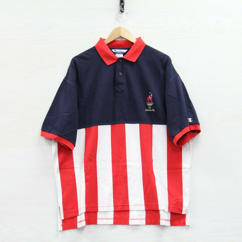 Vintage 1996 Atlanta Team USA Champion Polo Shirt Size XL Striped 90s Olympics