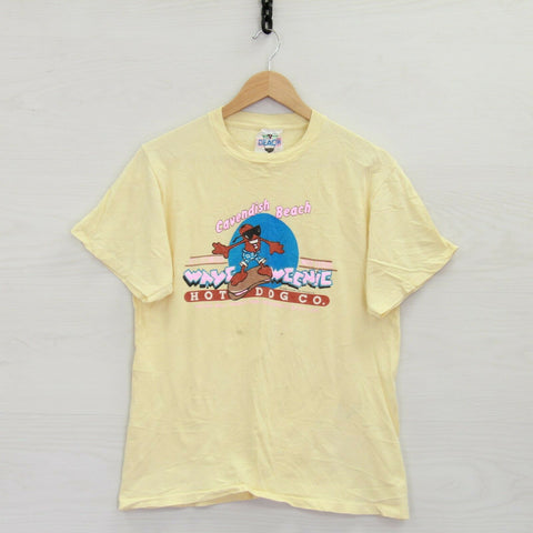 Vintage 1988 Cavendish Beach Wave Weenie Hot Dog T-Shirt Size Medium Yellow 80s