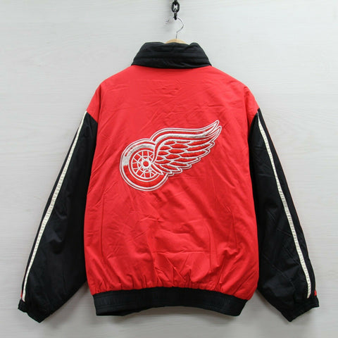 Detroit Red Wings Old Time Hockey Insulated Puffer Jacket Large Full Zip NHL