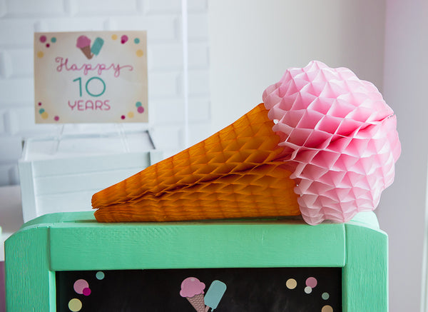 strawberry paper ice cream cone
